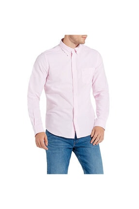 WRANGLER Erkek Pembe Button Down Slim Fit Gömlek