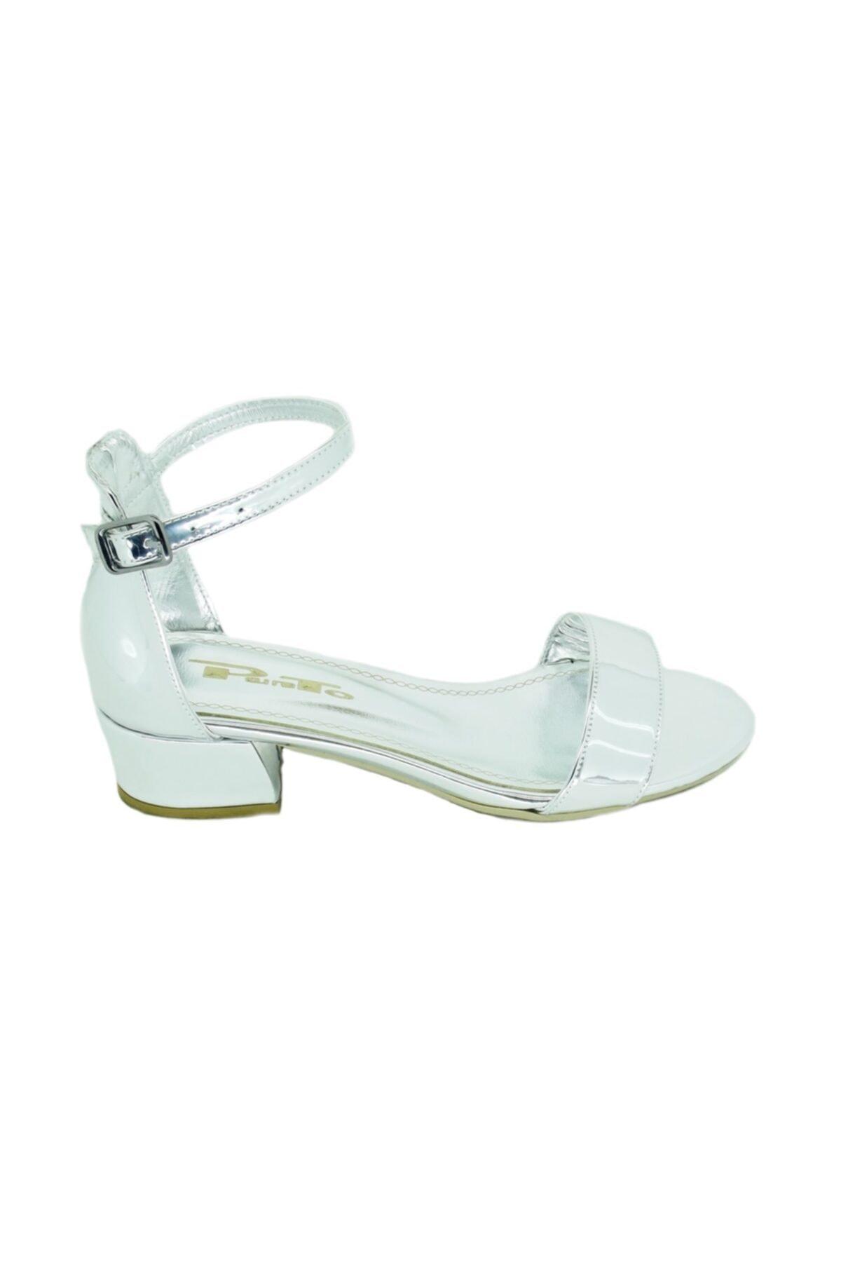 PUNTO Kadın Gümüş Kalın Topuk Tek Bantlı Ayakkabı 456038 2