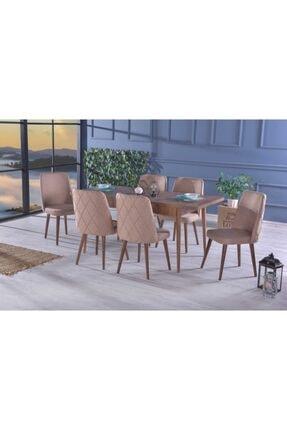 Stoker Larino Premıum Yemek Odası,yemek Masa Takımı 6 Sandalyeli Ahşap Ayaklı- Cappucıno