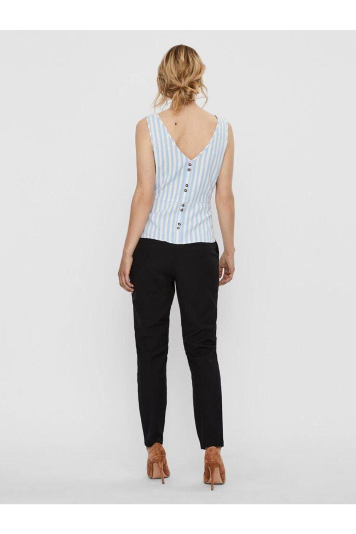 Vero Moda Kadın Mavi Düğme Detaylı Çizgili Keten Karışımlı Kolsuz Bluz 10226439 VMHELENMILO 2