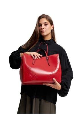 Mizalle Kadın Kırmızı İşlemeli Deri Büyük El Çantası 19SCMZL1014005