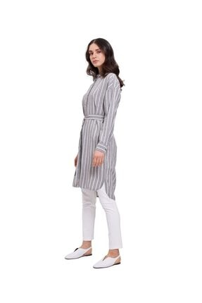 Mizalle Kadın Çizgili Keten Görünümlü Elbise