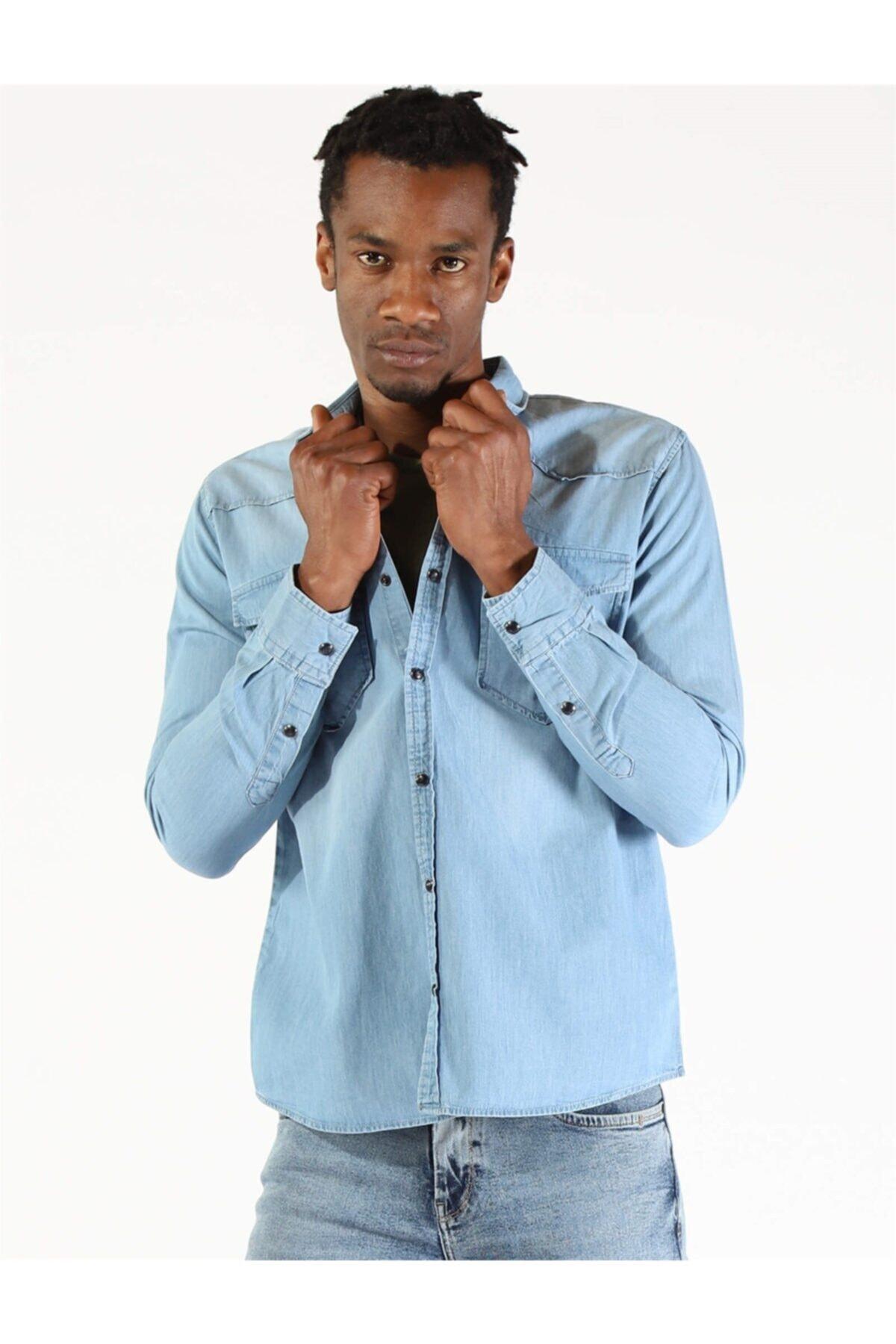 Twister Jeans Twıster Jeans 1704-09 Erkek Çıtçıtlı Çift Cepli Kot Gömlek 2