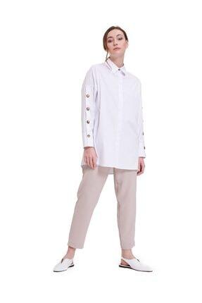 Mizalle Kolları Süs Düğmeli Tunik (Beyaz)
