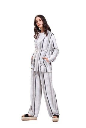 Mizalle Kadın Çizgili Keten Ceket (gri)