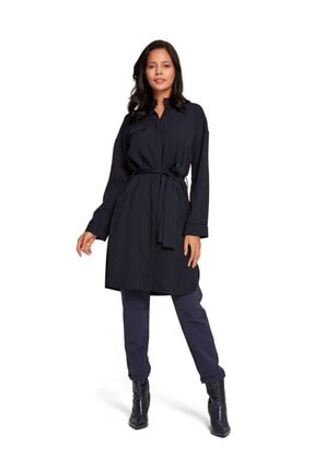 Mizalle Çizgili Elbise Tunik (Lacivert)