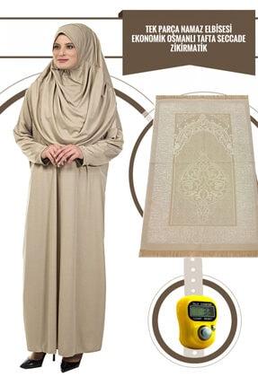 İhvan Vizon Tek Parça Kadın Elbise - 5015 & Seccade & Zikirmatik - Üçlü Takım
