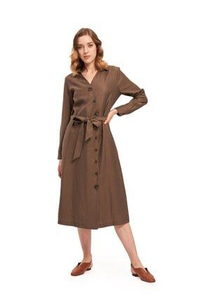 Mizalle Çapraz Düğmeli Elbise (Haki)