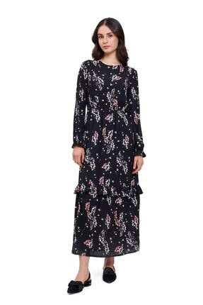 Mizalle Mızalle Çiçek Desenli Uzun Elbise (siyah)