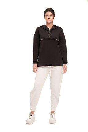Mizalle Mızalle Önü Düğmeli Sweatshirt (siyah)