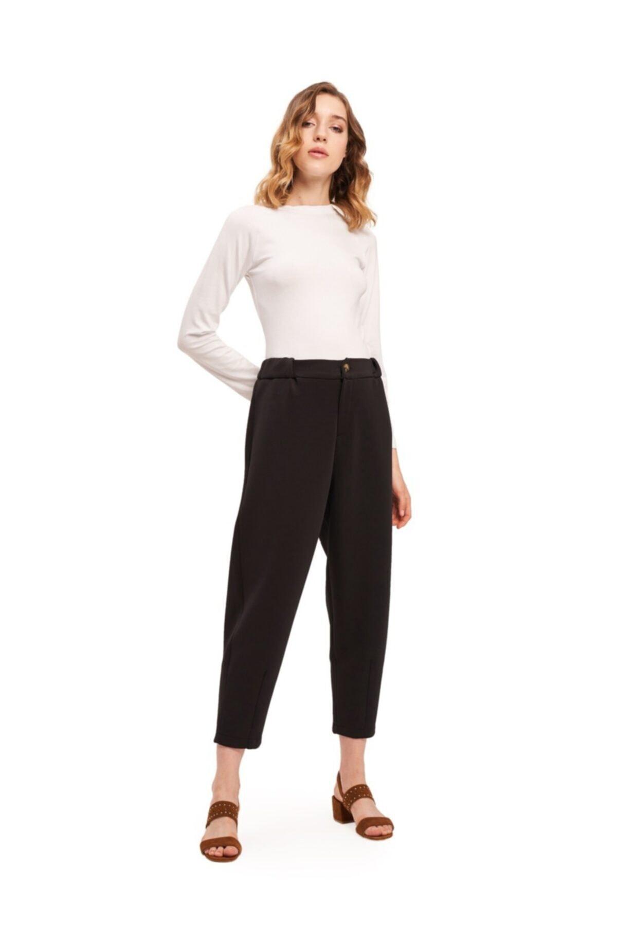 Mizalle Üç İplik Önü Düğmeli Pantolon (Siyah) 1