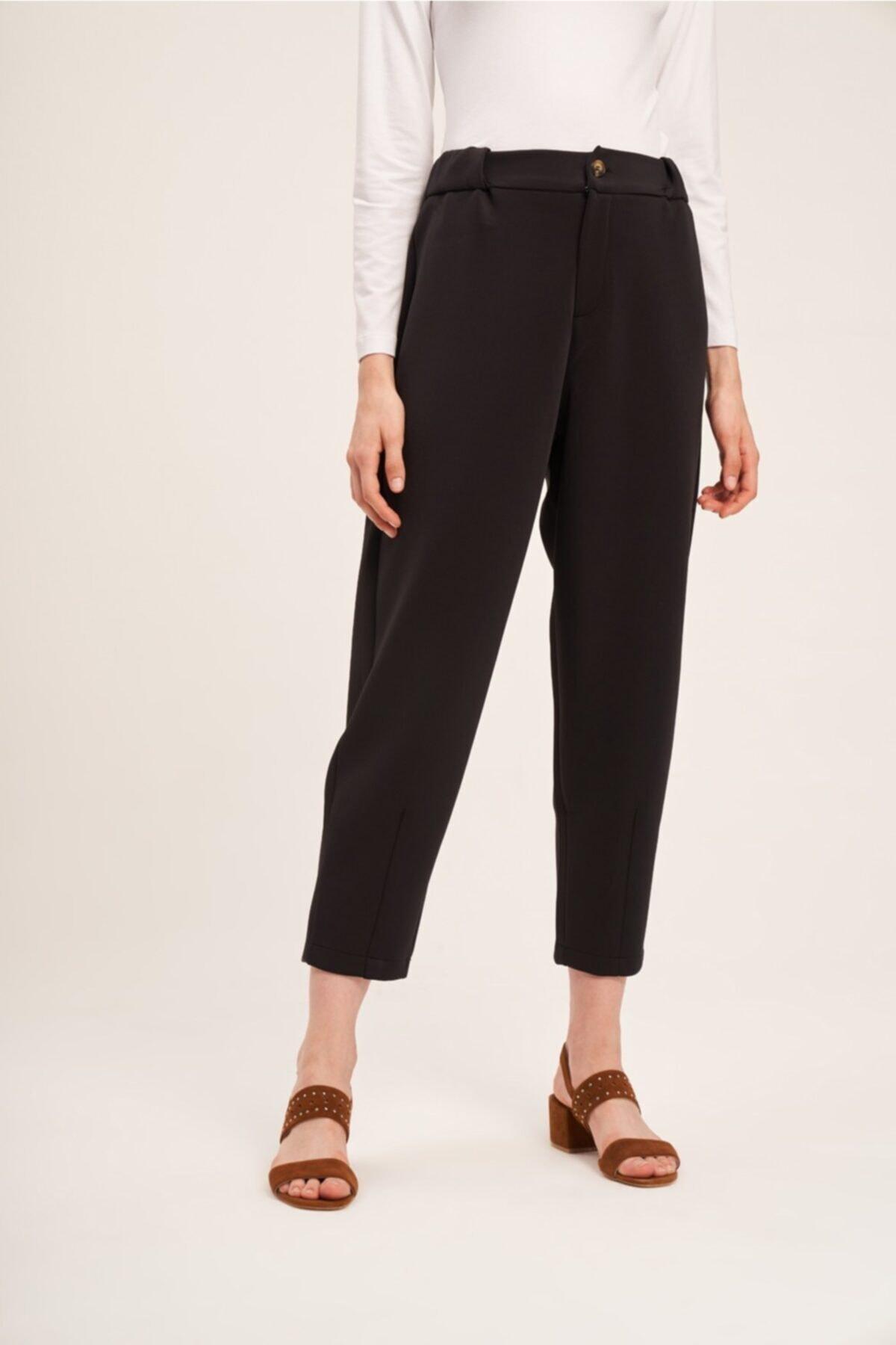Mizalle Üç İplik Önü Düğmeli Pantolon (Siyah) 2