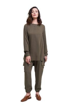 Mizalle Mızalle Basic Dökümlü Bluz (haki)