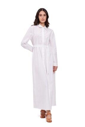 Mizalle Kadın Poplin Maxi Gömlek Elbise (ekru)