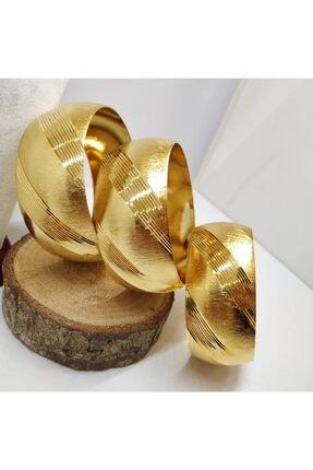 TAKI TASARIM 3 cm Mega Bilezik 22 Ayar Altın Kaplama