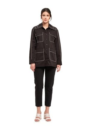 Mizalle Kadın Bej Biye Detaylı Ceket  Ceket
