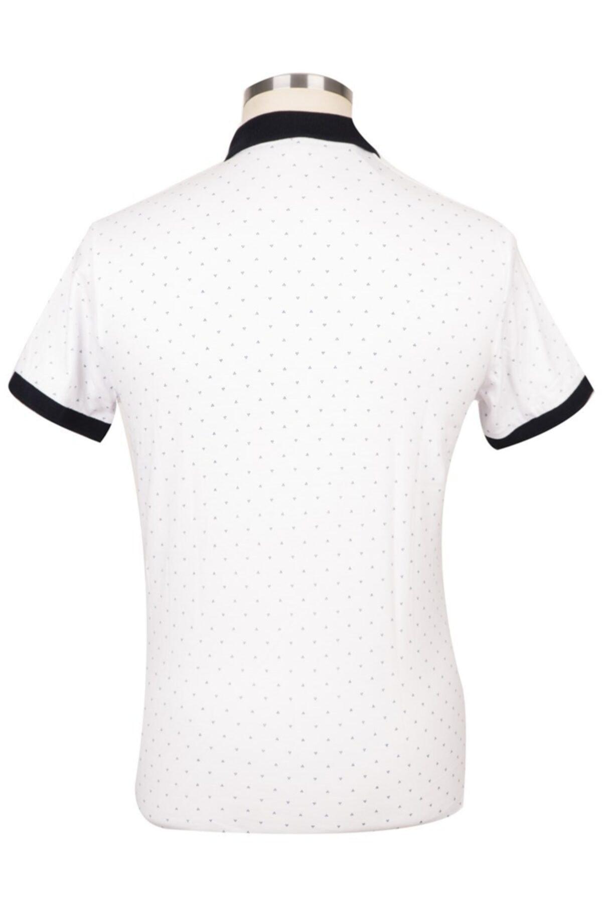 BLU Erkek Beyaz Polo Yaka T-shirt 2