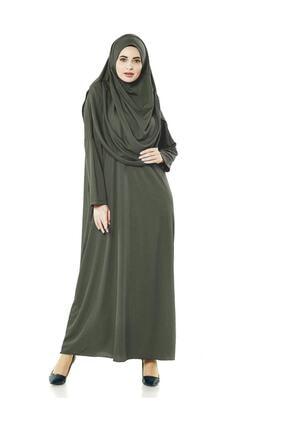 DOĞRU Haki Tek Parça Tesettür Kadın Elbisesi - Seccade - Zikirmatik - Üçlü Takım