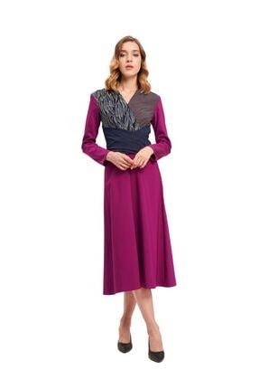 Mizalle Parça Detaylı Elbise (Mor)