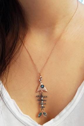 MorMajor Silver Balık Kılçığı Mavi Rengi Gümüş Kolye