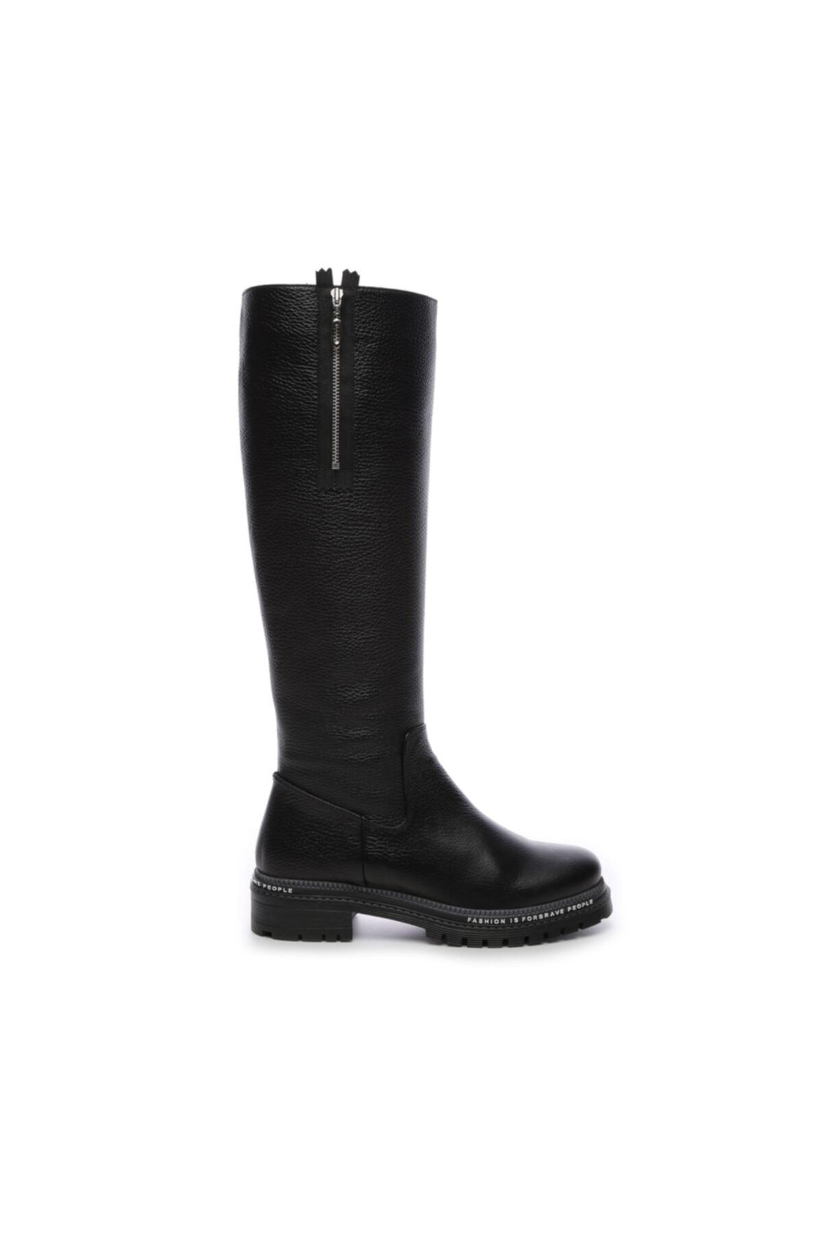 KEMAL TANCA Hakiki Deri Siyah Kadın Çizme Çizme 744 20652 C BN AYK SK19-20 1