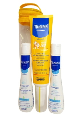 Mustela Güneş Losyonu 3'lü Kofre - Spf50+ Losyon 200 Ml + Hyra Bebe 100 Ml + Gentle Cleansing Gel 100 Ml