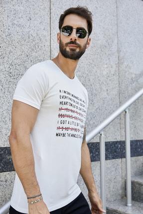 Sateen Men Erkek Ekru Slimfit Baskılı T-Shirt