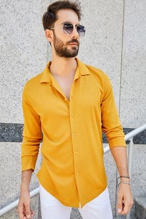 Sateen Men Erkek Safran Apaç Yaka Örme Gömlek