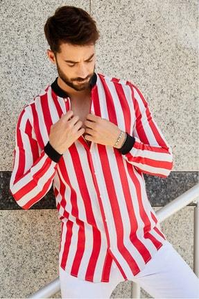 Sateen Men Erkek Kırmızı Ribanalı Viscon Gömlek