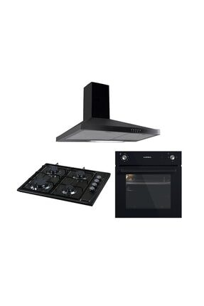Luxell Siyah 3lü Ankastre Set (B66-S2 Fırın + 410BF Ocak + LX-DP6S Davlumbaz)