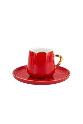 Emsan Kırmızı Kıymet 6'lı Kahve Fincan Takımı