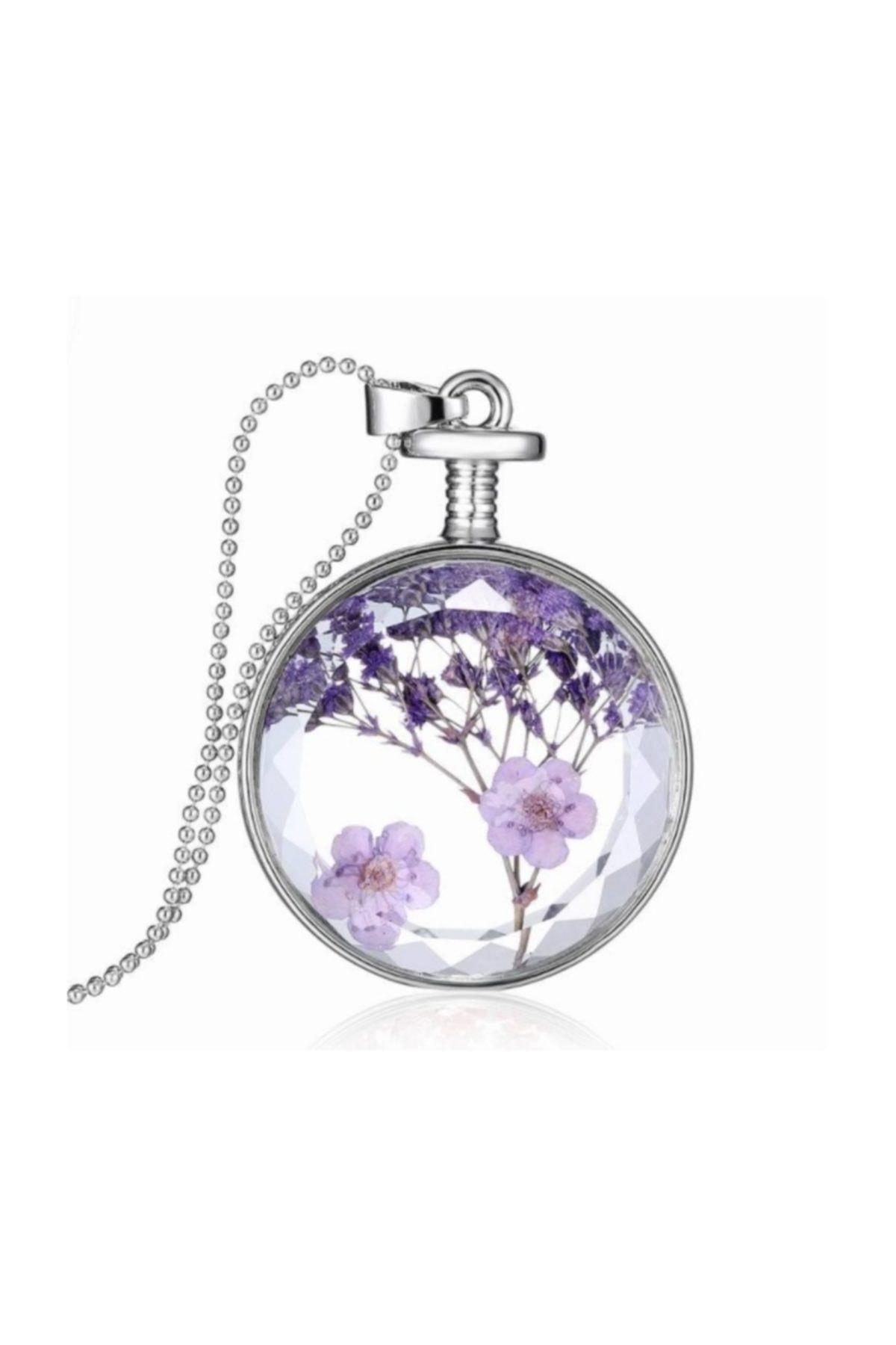 Chavin Yaşayan Kristal Cam Kurutulmuş Çiçek Kolye dr36 1
