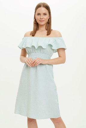 DeFacto Kadın Yeşil Çizgi Detaylı Fırfırlı Dokuma Elbise R1717AZ.20SM.GN323