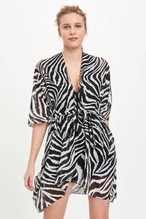 DeFacto Kadın Beyaz Zebra Desenli Kimono R2438AZ.20SM.WT5