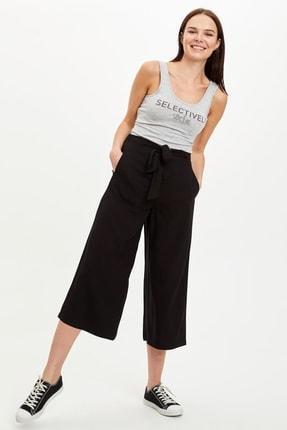 DeFacto Kadın Siyah Culotte Bel Bağcıklı Dokuma Pantolon M7428AZ.20SM.BK27