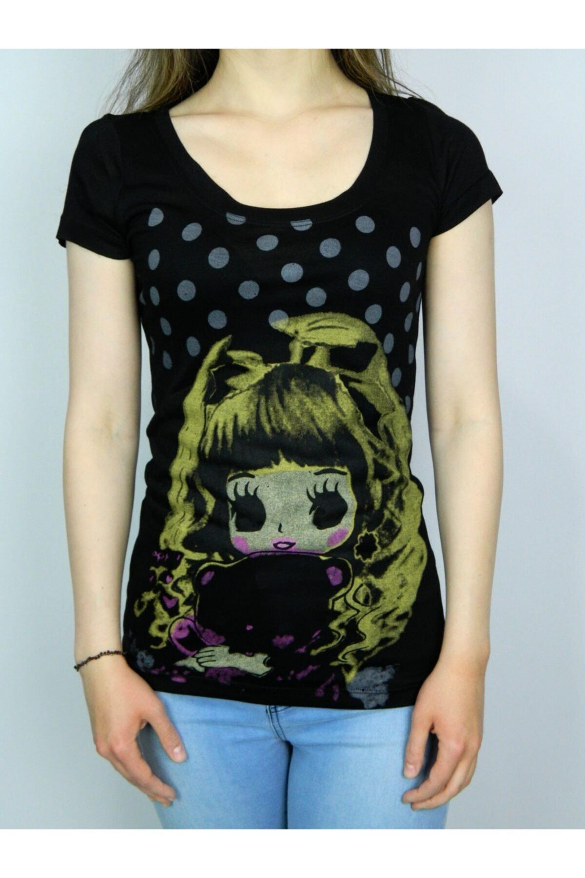 BRG JEANS Kadın Siyah Uzun T-shirt 1