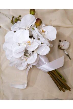 Arden Gelin El Buketi Damat Yaka Çiçeği   Orkide