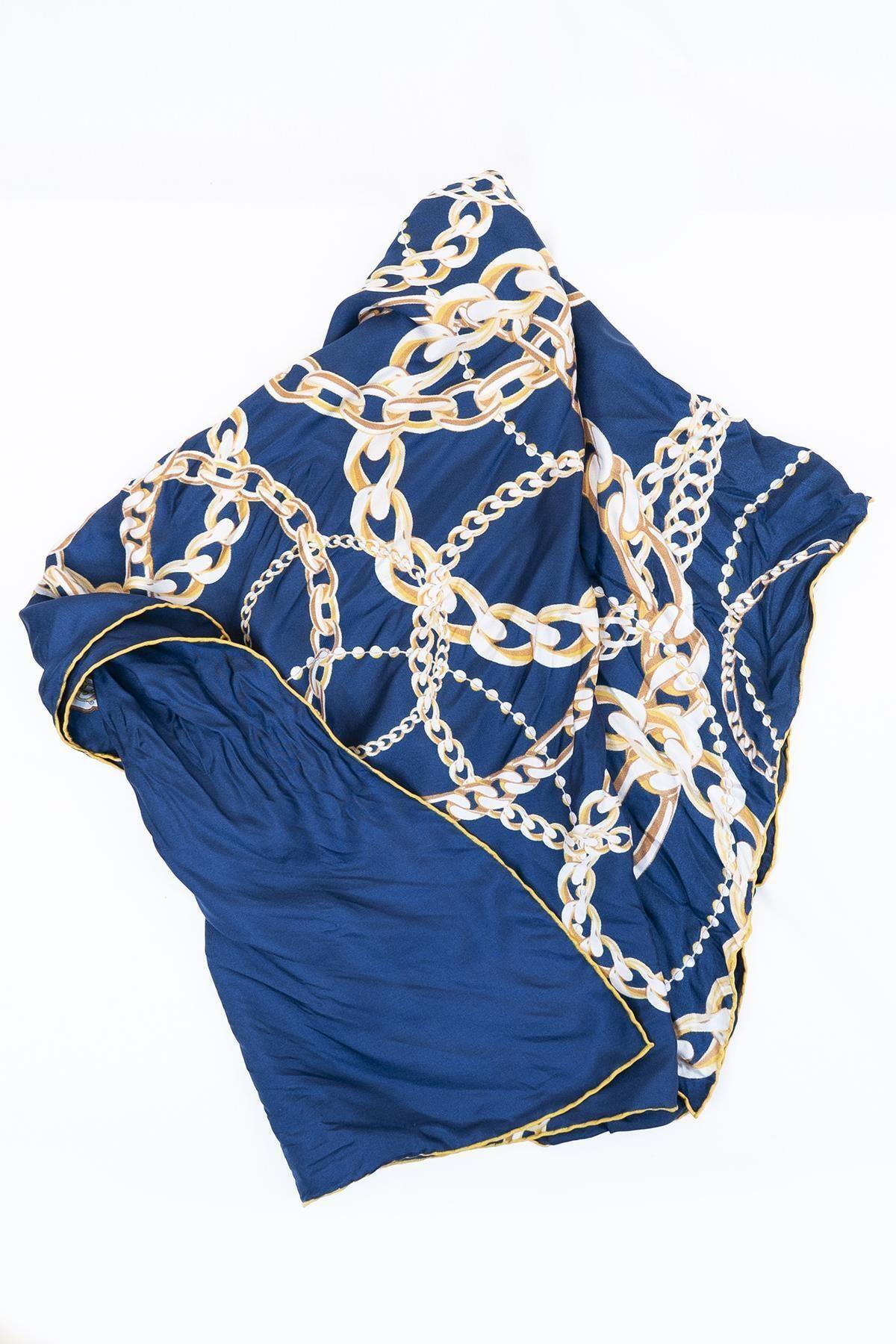 GİZİA Kadın Mavi Desenli Eşarp 8v006 2