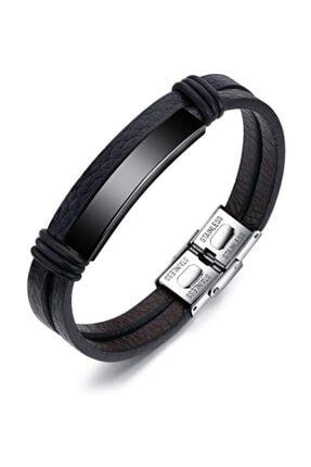 Chavin Parlak Siyah Çelik Ve Deri Çelik Erkek Bileklik ehy-dy76sy