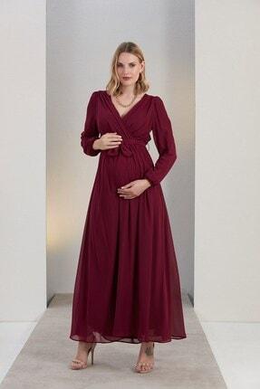 Görsin Hamile Kadın Bordo Kuşak Detaylı Hamile Violet Elbise
