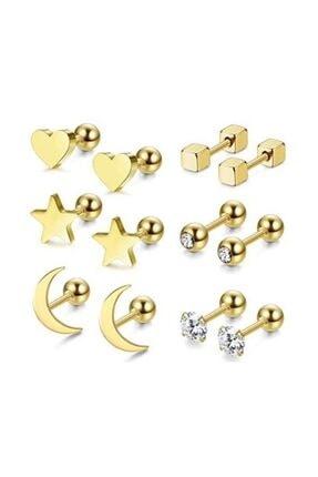 Chavin Kadın Gold İp Çelik 6 Takım Kadın  Küpe Piercing ehy-eb64sr