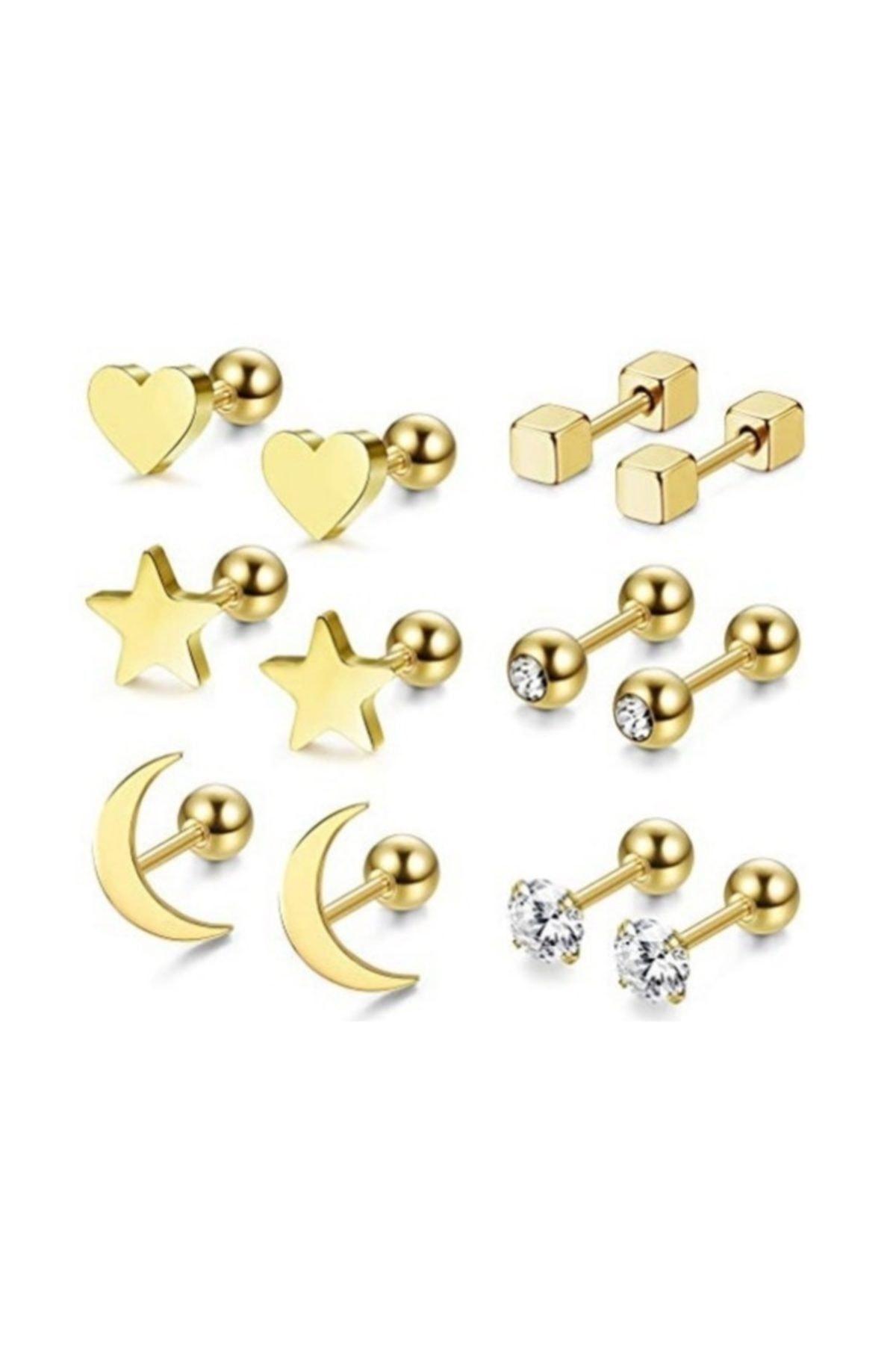 Chavin Kadın Gold İp Çelik 6 Takım Kadın  Küpe Piercing ehy-eb64sr 1