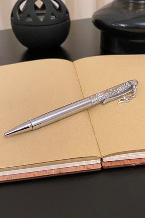 HEDİYELİMANİ Gümüş Renk Sulu Simli Zirkon Taşlı Kalem