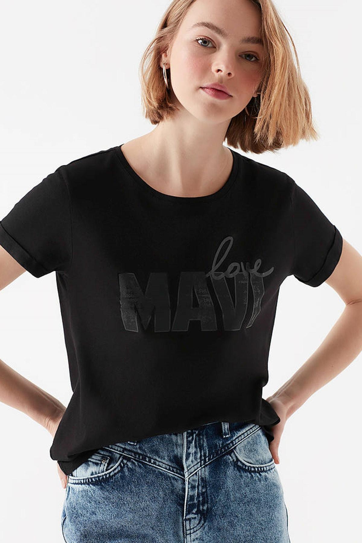 Mavi Kadın Love Baskılı Siyah T-Shirt 167706-900 1