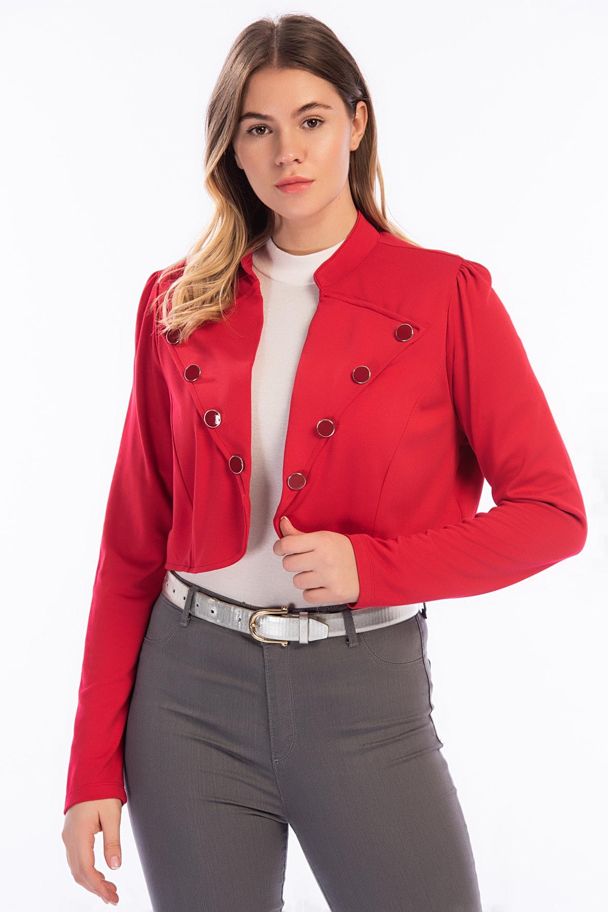 Şans Kadın Kırmızı Düğme Detaylı Kısa Bolero Ceket 26A12715Kırmızı 1