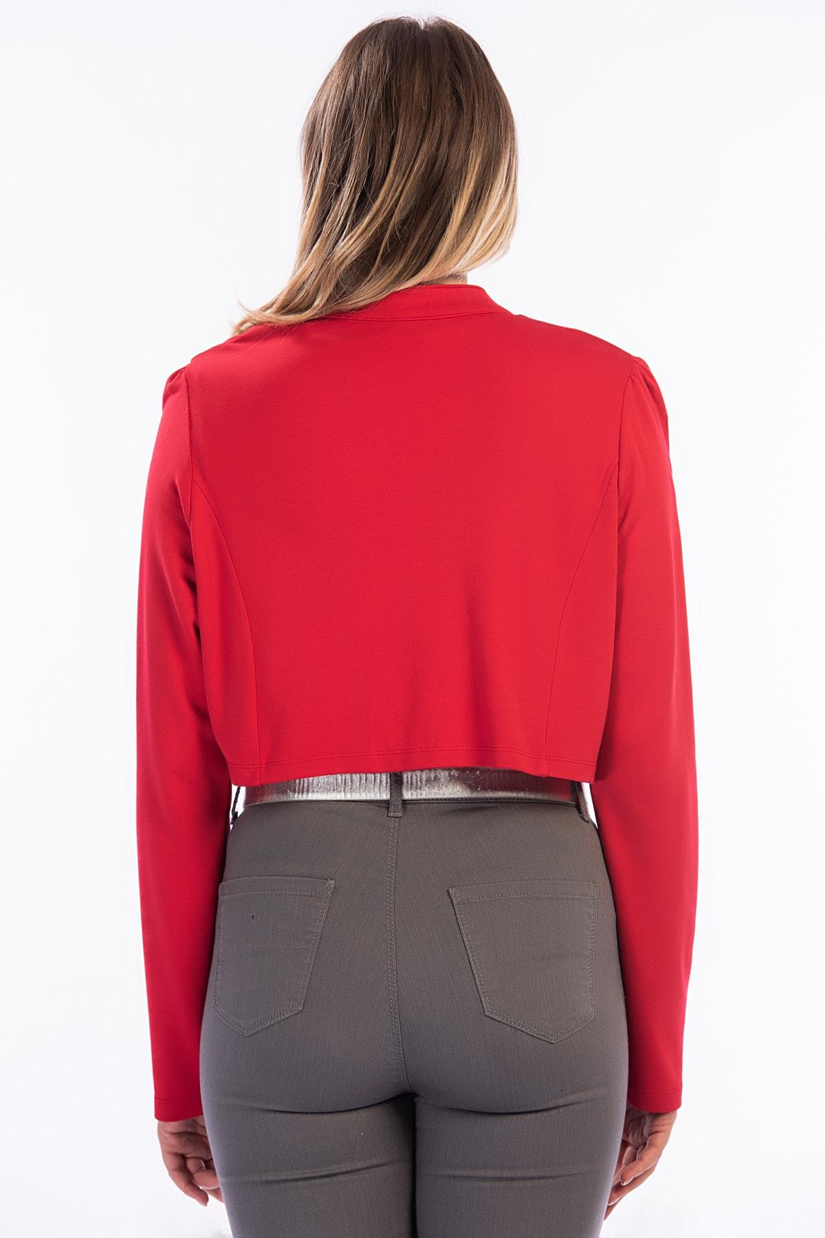 Şans Kadın Kırmızı Düğme Detaylı Kısa Bolero Ceket 26A12715Kırmızı 2
