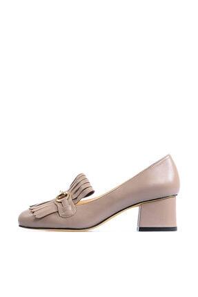 Flower Hakiki Deri Vizon Tokalı Kadın Ayakkabı