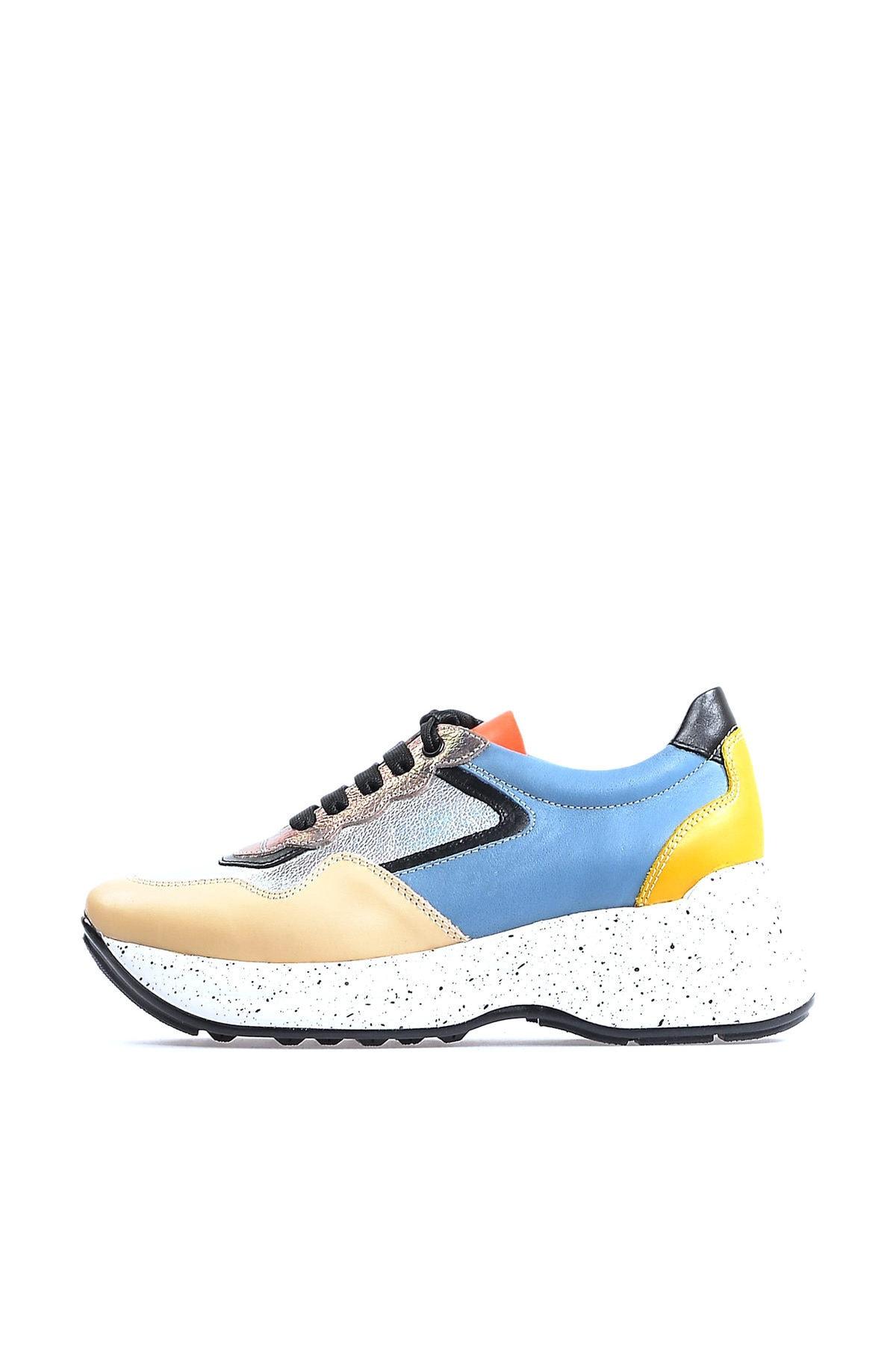 Flower Hakiki Deri Multicolor Taban Detaylı Kadın Spor Ayakkabı 1