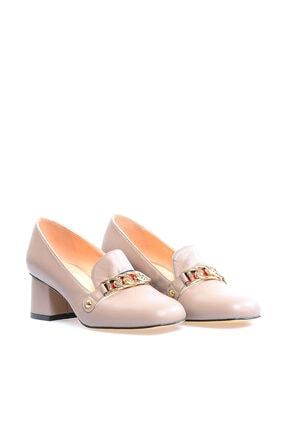 Flower Hakiki Deri Vizon Metis Tokalı Kadın Topuklu Ayakkabı