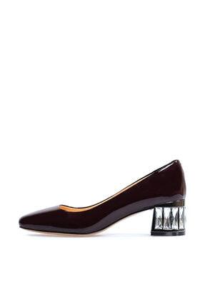 Flower Hakiki Deri Bordo Taş Detaylı Kalın Topuklu Ayakkabı